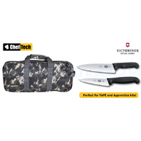 3PC PROFESSIONAL CHEF KNIFE SET CAMO BAG + VICTORINOX COOKS 15CM + 20CM KNIVES