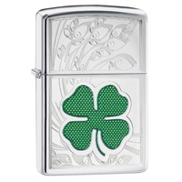 ZIPPO SHAMROCK LUCKY FOUR LEAF CLOVER CHROME LIGHTER GIFT BOX 94699