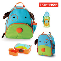 DOG SKIP HOP ZOO BACKPACK BAG + INSULATED LUNCHIE + LUNCH BOX + DRINK BOTTLE SET