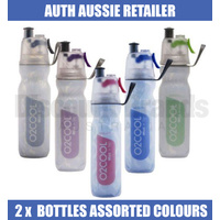 2 x O2Cool Mist 'N Sip 18oz 530ml Arctic Squeeze Water Drink Bottle Assorted Colours 02COOL O2COOL