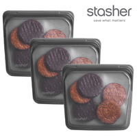Stasher 3pc Sandwich Reusable Snack Bag Cook Freeze Store 3-In-1 | Grey 450ml