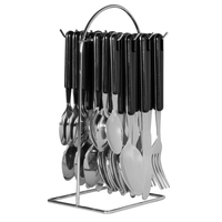 AVANTI 24 Piece Stainless Steel Hanging 24pc BLACK Cutlery Set 16721