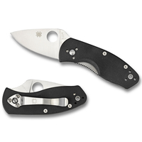 New SPYDERCO AMBITIOUS G-10 Plain Blade Folding Knife BLACK C148GP Save!