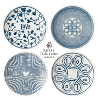 New Royal Doulton 16cm Blue Love Plate Set of 4 | 4pc