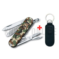 "SWISS ARMY KNIFE SWISS "" CLASSIC CAMO "" VICTORINOX  + LEATHER POUCH BUNDLE"