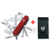 SWISS ARMY KNIFE SWISS UNIVERSAL and BLACK LEATHER BELT POUCH GENUINE VICTORINOX