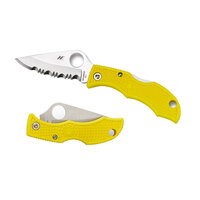 NEW SPYDERCO LADYBUG 3 SALT YELLOW SERRATED BLADE FOLDING KNIFE LYLS3