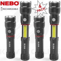 NEBO SLYDE KING 4 PACK RECHARGEABLE 330 LUMEN 4 MODES LED FLASHLIGHT WORK LIGHT 89510